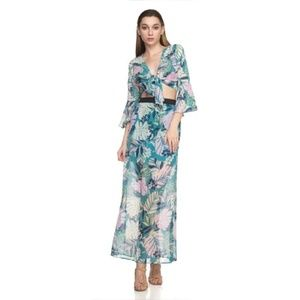 Floral sheer tropical tie top and skirt set